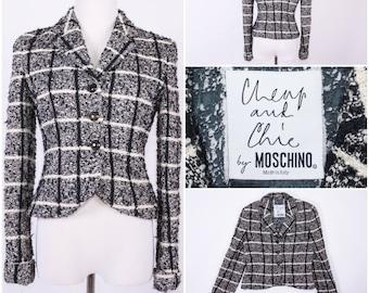 MOSCHINO Women's Black & White Tweed Jacket / Coat / Blazer