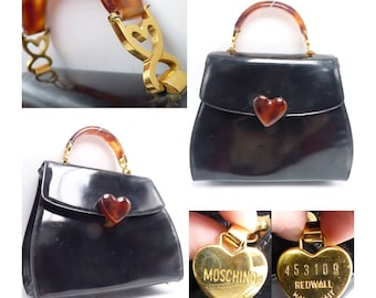 MOSCHINO Patent Black Leather Handbag / Shoulder Bag with Curved Lucite Handle and Gold Heart Shaped Hardware