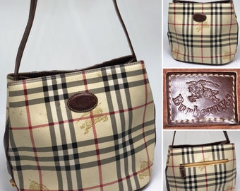 BURBERRY Vintage 1990 s Nova Check Shoulder Bag   Purse 905cb035fb3b5