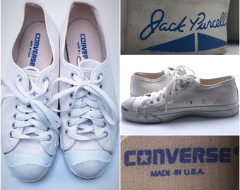 db31031b9b0 CONVERSE JACK PURCELL vintage 1970 s Handmade in Usa white lace up Tennis  Shoes