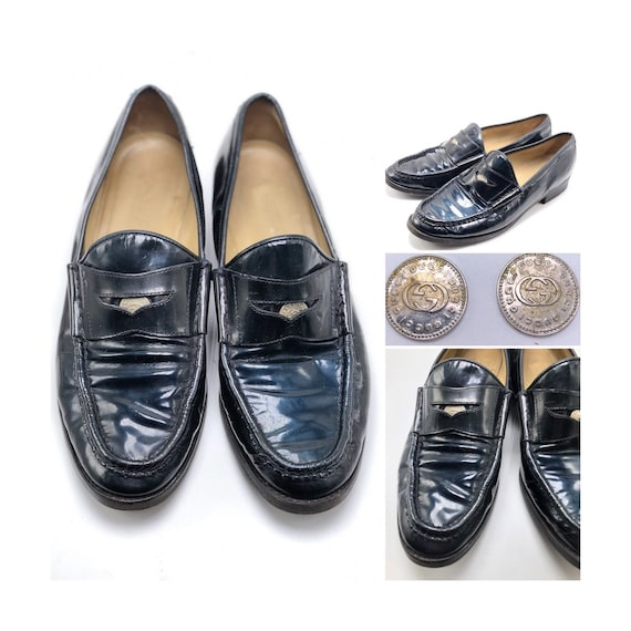 5373b8343f5c0 GUCCI Vintage Black Patent Leather Penny Loafers with Silver Gucci Coins