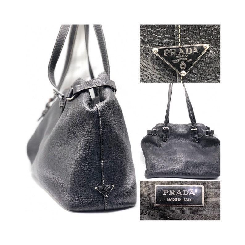 f08bc4a3ea63 PRADA Vintage Black Leather Hobo Bag   Purse   Handbag