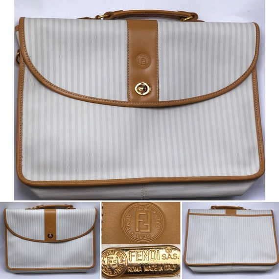 5553bf35930f FENDI Vintage 1990 s Unisex White   Tan Striped Briefcase