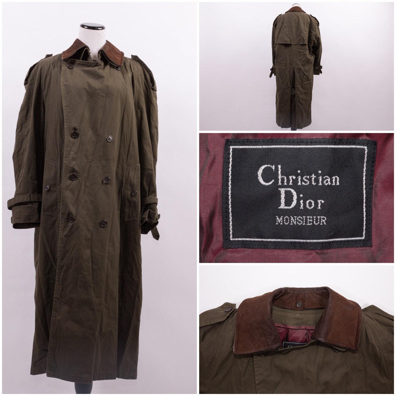 e2fe38f6 CHRISTIAN DIOR Men's Army Green Trench Coat