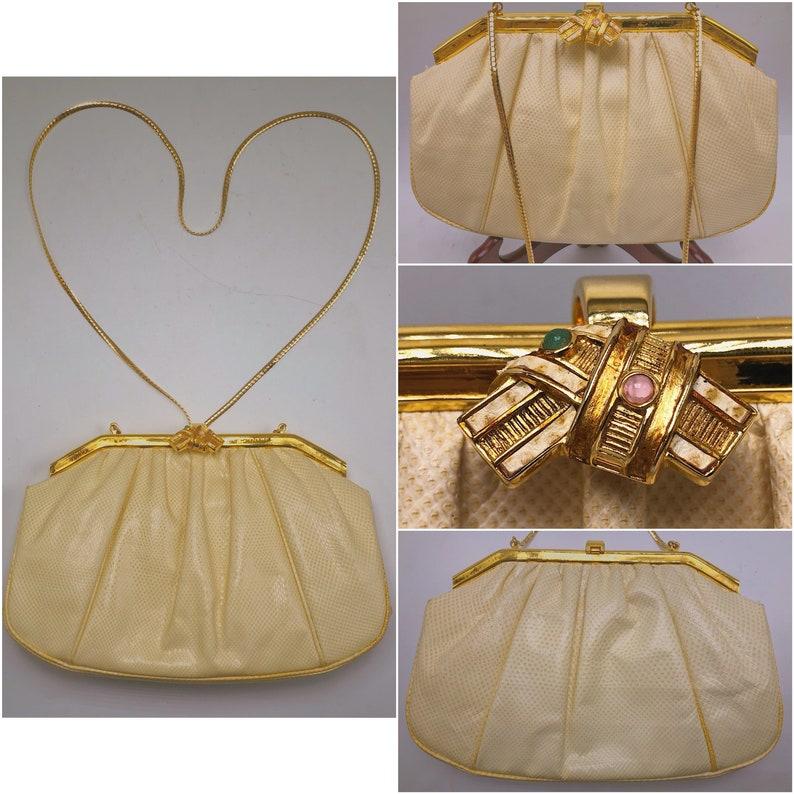 fd14cd22f8ee JUDITH LEIBER Vintage White Lizard Skin Clutch   Evening Bag