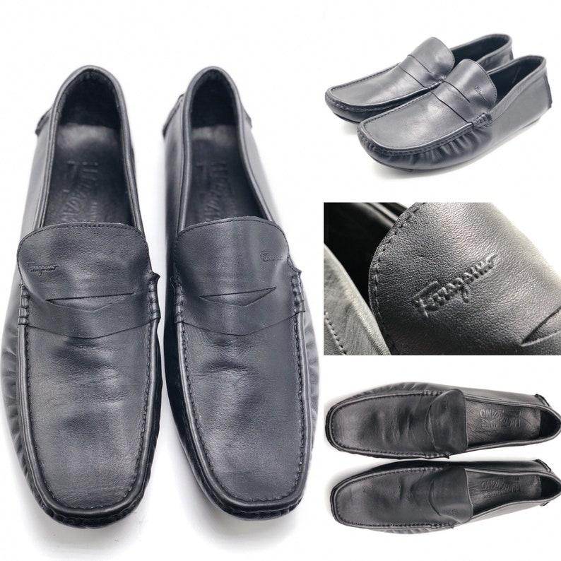 b87889c2170 SALVATORE FERRAGAMO Men s Size 12 Soft Black Leather