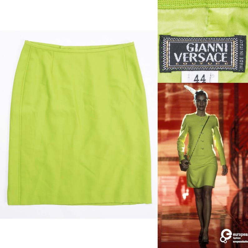 a06bb86fda GIANNI VERSACE COUTURE Bright Green Wool Mini Skirt | Etsy
