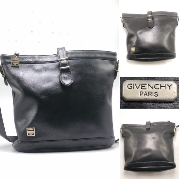 GIVENCHY Vintage 1960's / 1970's Black Leather Cro