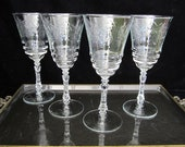 Rock Sharpe 4-Pc Normandy Water Goblet Set Vintage Cut Crystal Stem 3005 Flowers Arches Leaves Starred Foot 8 oz 1940s Large Wine Ohio USA