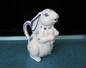 Franklin Mint Country Friends Bunny Creamer Cute Rabbit Cream Pitcher, Blue and White Hallie Greer Delph Style 1986 Figural Farmhouse Animal