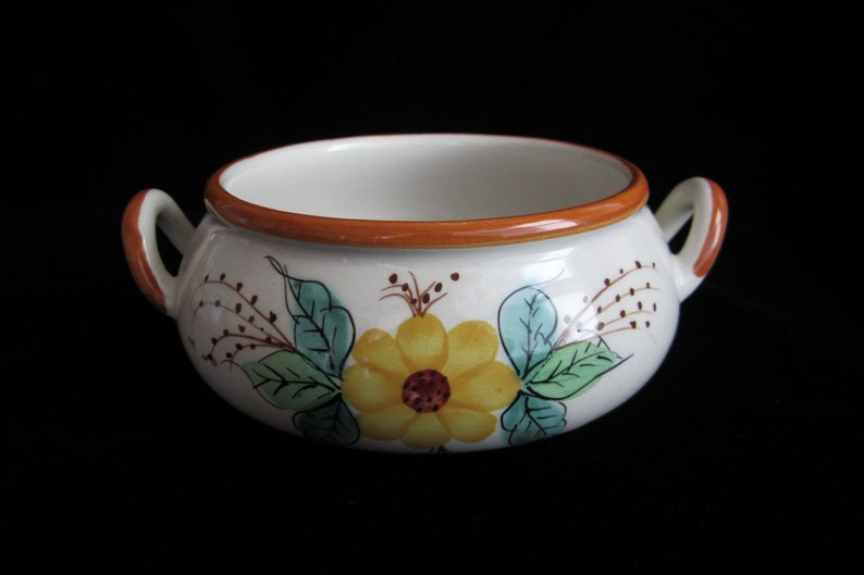Vintage Ceramic Floral Bowl with Handles 1970s FTD Handpainted Portuguese Pottery Centerpiece Vase Candy Dish Nut Salsa Bowl Yellow Green