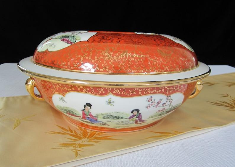 Porcelain Geisha Girl Lidded Bowl Red-Orange Restaurant Ware Vintage Japanese Style Extra Large Gold Trimmed Tureen Colorful Serving Dish