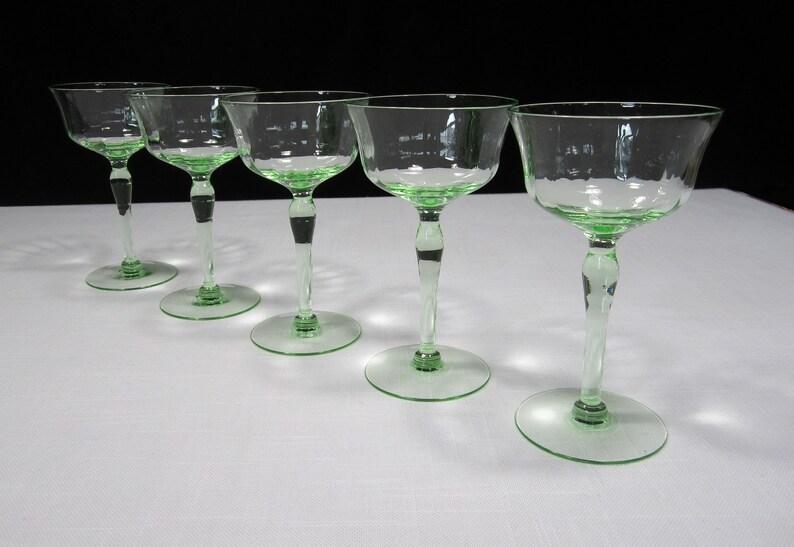 Antique Green Vaseline Stemmed Wine Glasses Set Of 4 As Is Antiques Decorative Arts