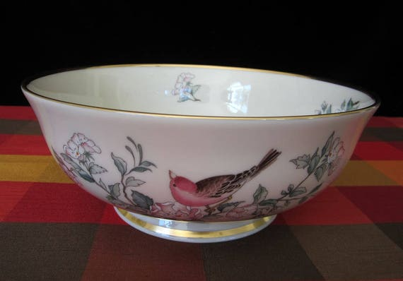 Lenox Serenade 8 Salad Serving Bowl Vintage Large Footed Etsy