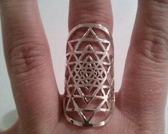 Sri Yantra ring in sterling silver - sacred geometry