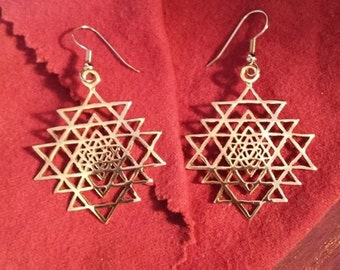 Sri Yantra earrings - sacred geometry - bronze earrings