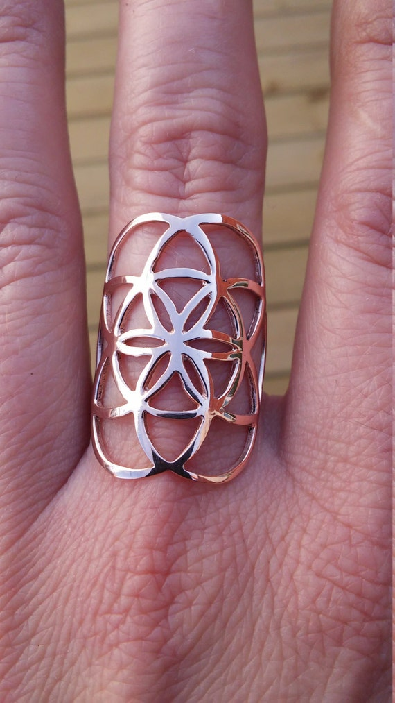 rose gold ring sacred geometry 10k seed of life ring in rose gold