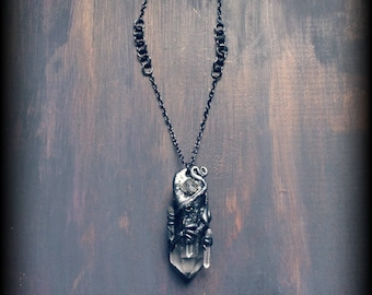 Biomechanical Quartz Crystal Herkimer Diamond Pendant Necklace One of a Kind Wearable Dark Art Witchy Gothic