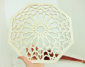 1 XXL Moroccan Tile Design Laser Cut Unfinished Wood Shapes Craft DIY Decorative Coaster 03YL0159
