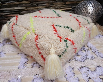 Beni Ourain Floor Pillow Pouf Large Highest Quality Berber Moroccan Handmade Tassels Colorful Ottoman Pouf 03YS023