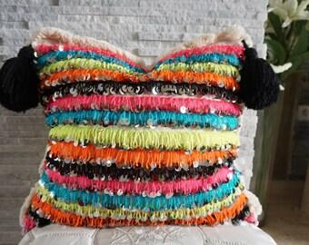 Handira marocaine mariage couverture grand coussin fait main berbère coussin couverture à la main glands paillettes 03YL0487