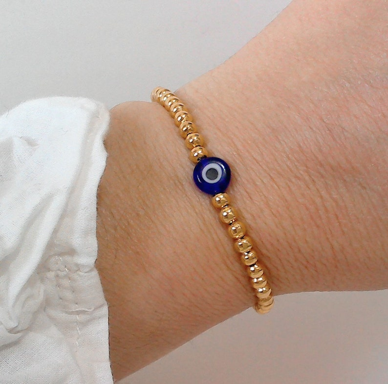 Evil Eye Bracelet,24KGold Plated Bracelet,Gold Bracelet,Gift for Mom,Gold Beaded Bracelet,Nazar Bracelet,Protection Bracelet