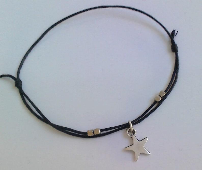 Star anklet,Silver star anklet,String anklet,Adjustable anklet,Star jewelry,Beach anklet,Boho,Summer anklet,Beaded anklet