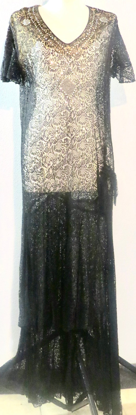 Exceptional 1920's Embellished Lace Dress