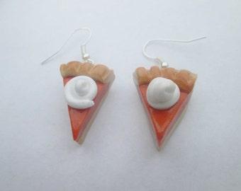 WHOLESALE Pumpkin pie earrings, polymer clay Christmas earrings, children's earrings, Christmas jewelry, miniature food, Thanksgiving