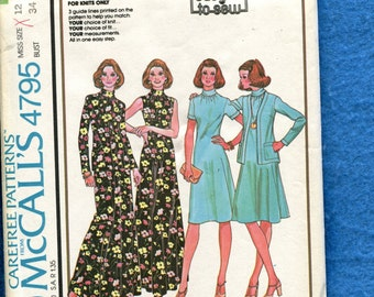 1970's McCall's 4795 Retro Flared Dress with Stand Up Collar Size 12 UNCUT