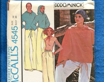 1970's McCall's 4545 Designer DDDominick Hooded Beach Shirt & Loose Fitting Pants  Size 12 UNCUT