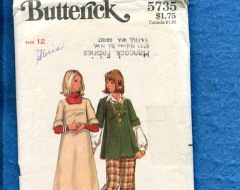 1970's Butterick 5735 Maternity Dress or Tunic with Rolled Sleeves & Wide Leg Pants Size 12