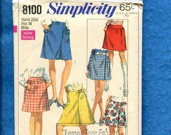 1960's Simplicity 8100 Golf & Tennis Wrap Skirts Pattern Size 12 UNCUT