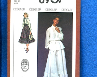 c3faf05dc396a7 1970 s Simplicity 8907 Gunne Sax Romantic Western Blouse   Tiered Skirt Size  12