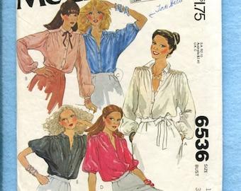 1970's McCalls 6536 Retro Disco Blouses Size 12