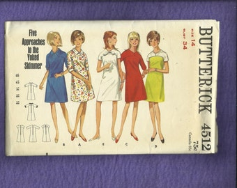 1960's Butterick 4512A-Line Dresses or Skimmers with Yoke Variations Size 14 UNCUT