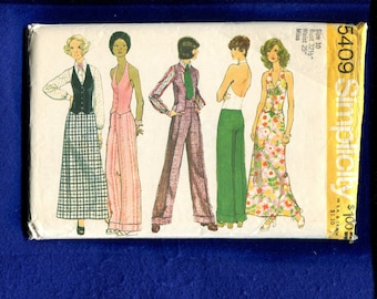 1970's Simplicity 5409 Fitted Halter Top or Vest Wide Leg Pants & A-Line Skirt Size 10
