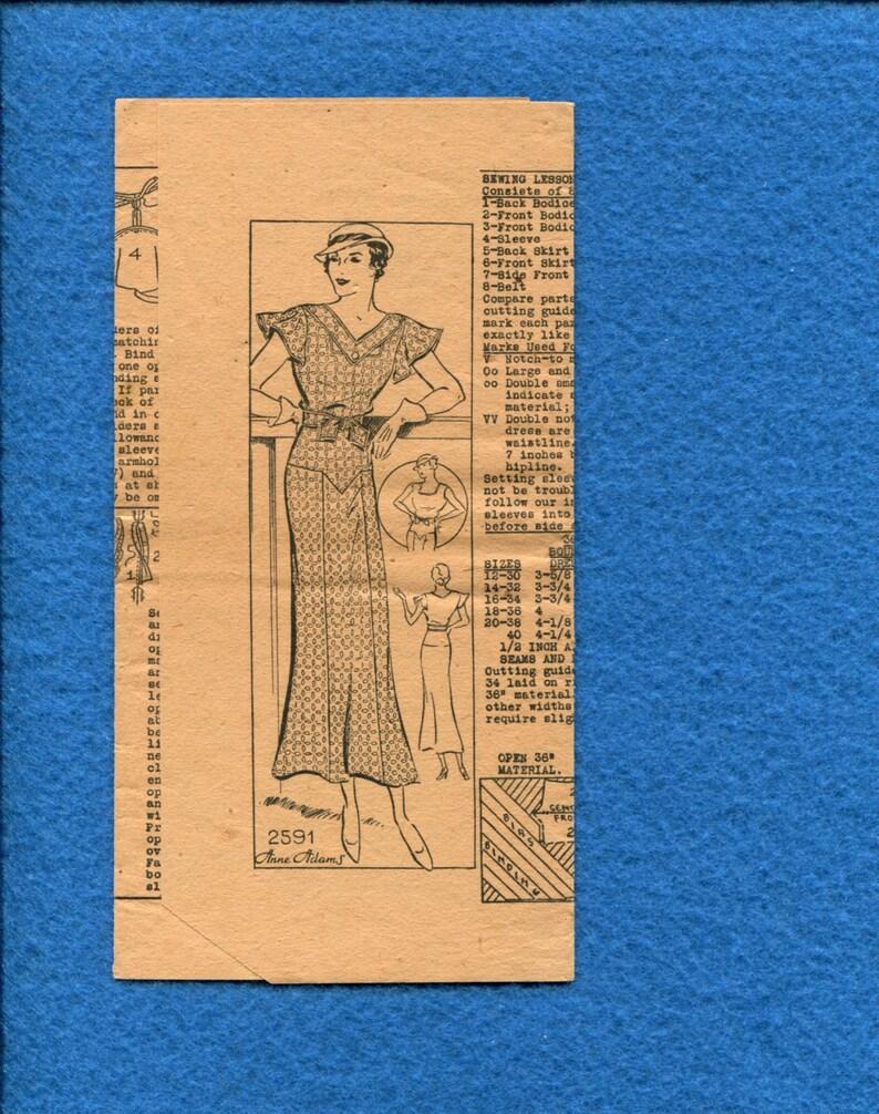 20827ea540c9 1930 s Anne Adams 2591 Slim Butterfly Sleeve Ladies Dress