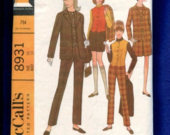 1967 McCalls 8931 British Invasion Separates Perfect in Plaid Jacket Fitted Vest Pants & More Size 16