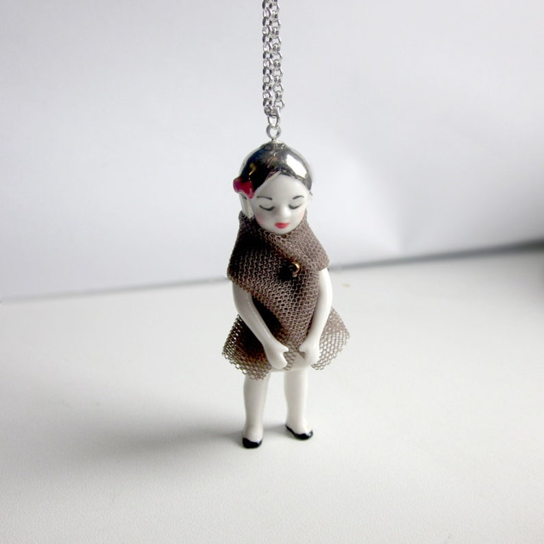 porcelain doll long necklace with beautiful details all image 0