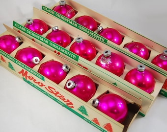 3 boxes of 5 Miro-Star Pink Glass Christmas Ornaments by Delta Ornaments
