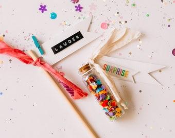 Confetti + Personalized Pennant Flag Gift Topper Kit  | Gift Toppers | Gift Wrapping | Gift Wrap Kits | Rainbow Confetti Gift Wrap