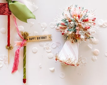 Custom Party Pack: party hat + cake topper + handmade confetti card