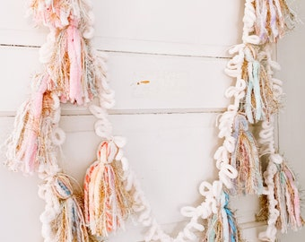 Pastel Spring Tassel Garland | Pastel Rainbow Garland | Party Decorations | Room Decor | Party Garland | Pom Pom Garland | Birthday Bunting