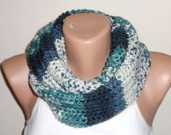 mint green gray white blue knit infinity, circle scarf,wrap, knit scarf loop scarf