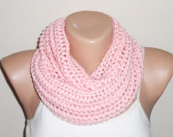 pink knit infinity scarf pink circle scarf loop scarf women accessories trendy scarf winter scarf gift for her