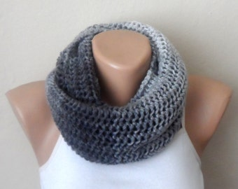 gray knit infinity smoked scarf multıcolor  circle scarf winter scarf wrap shawls