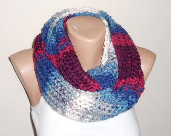 blue pink  gray white knit infinity circle scarf winter scarf knit scarf loop scarf