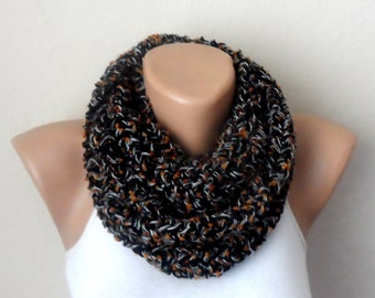black knit infinity scarf  multicolor scarf mealy circle scarf winter scarf