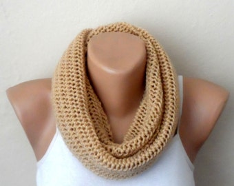 brown knit infinity scarf salmon circle scarf loop scarf handmade scarf woman accessories trendy scarf gift for her
